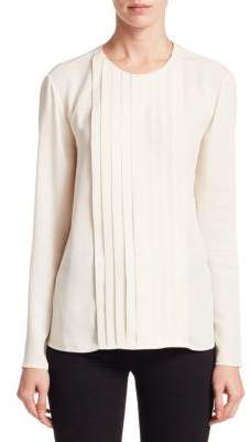 Ralph Lauren Collection Long Sleeve Silk Pleated Shirt