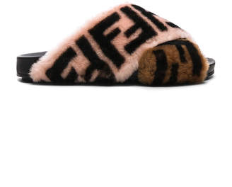 Fendi Logo Print Shearling Cross Strap Slides