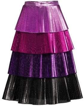 Ralph Lauren Metallic Tiered Ruffle Skirt