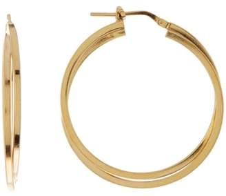 Argentovivo 18K Gold Plated Sterling Silver Double Squared 33mm Hoop Earrings