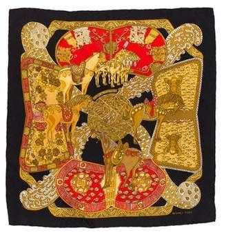 Hermes Art des Steppes Silk Pocket Square