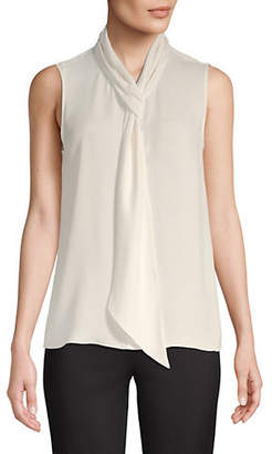 Theory Draped Tie Sleeveless Silk Top