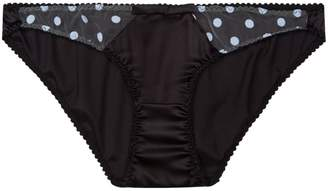 Sarah Brown Black Stretch Silk With Blue Polka Dot Tulle Briefs