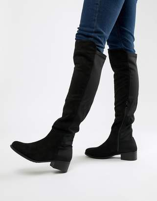 Truffle Collection Elastic Flat Over Knee Boots
