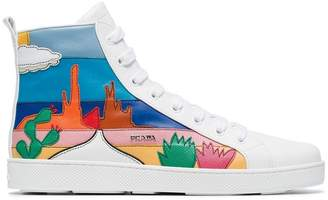 Prada white cactus applique leather high top sneakers