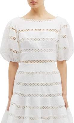 Zimmermann 'Bowie Contour Hailspot' cutout stripe linen-cotton dress