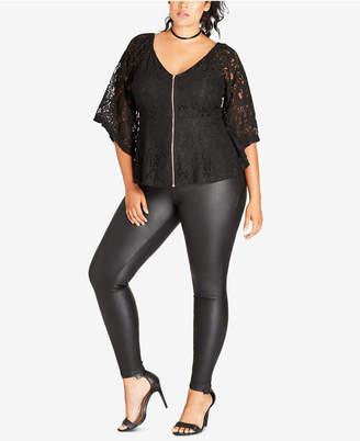 9f71b62207b7e at Macy s · City Chic Trendy Plus Size Lace Peplum Top