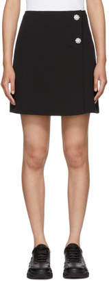 MSGM Black Crystal Buttoned Miniskirt
