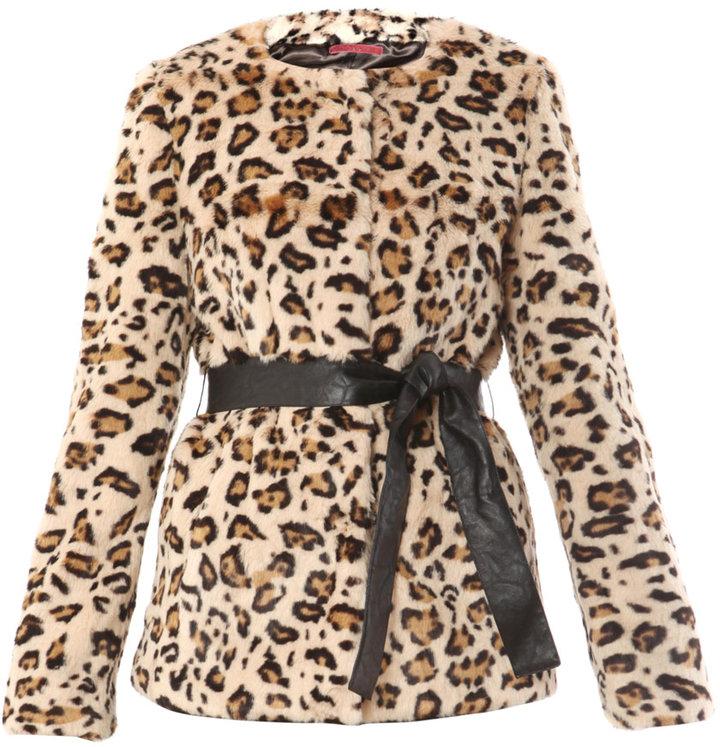 Velvet Tivonia faux-fur leopard print coat