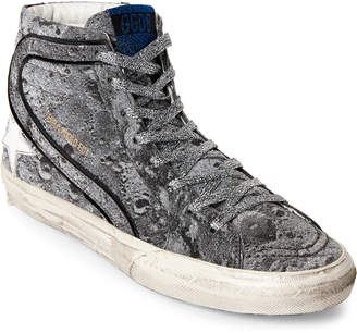 Golden Goose Silver Glitter High-Top Sneakers