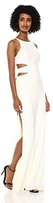 Halston Women's High Neck Tie Back Gown with Cut Outs