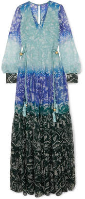 Peter Pilotto Floral-print Silk-crepon Gown - Blue
