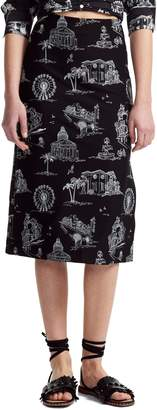 Maje Embroidered Graphic Midi Skirt