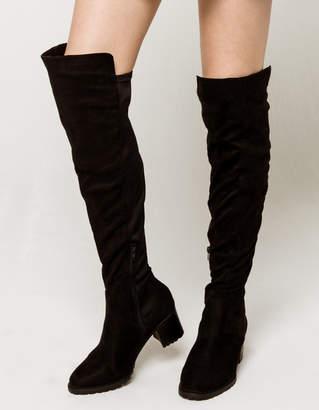 Wild Diva Lounge WILD DIVA Over The Knee Lug Heeled Boots