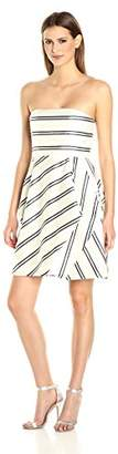 Halston Women's Strapless Variegated Stripe Dress