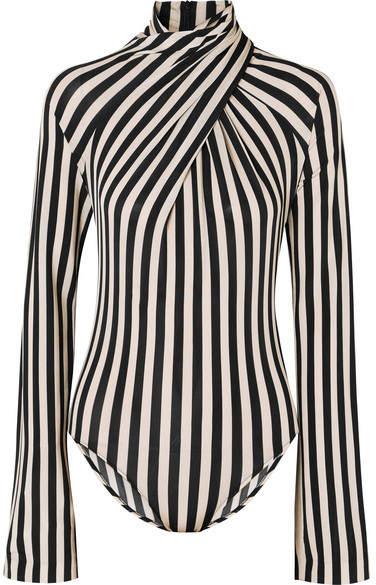 Petar Petrov - Striped Stretch-jersey Turtleneck Bodysuit - Black