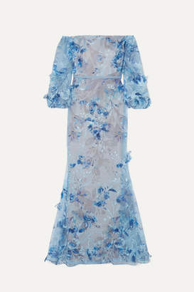 Marchesa Off-the-shoulder Satin-trimmed Appliquéd And Embroidered Tulle Gown - Blue
