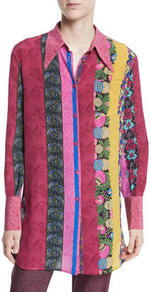 Etro Multi-Print Button-Front Long-Sleeve Silk Blouse