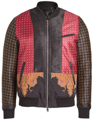 Alexander McQueen Printed Wool Bomber Jacket with Mohair