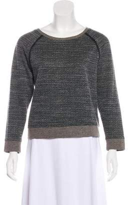 Alice + Olivia Leather Trimmed Scoop Neck Sweater