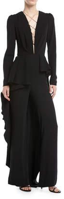 Johanna Ortiz Kachina Plunging Lace-Front Straight-Leg Crepe Jumpsuit w/ Skirt
