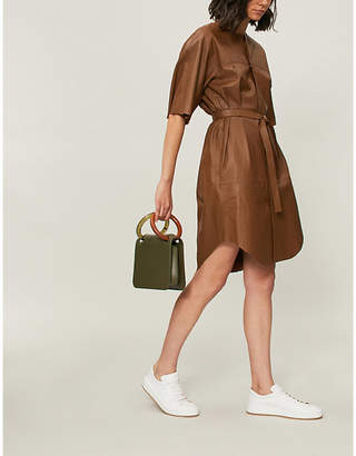 Theory Belted leather dress