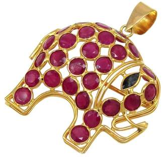 18K Yellow Gold with 2.24ctw Round Cut Ruby & Sapphire Elephant Brooch and Pendant