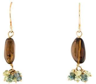 18K Smoky Quartz & Sapphire Drop Earrings