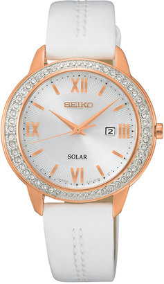Seiko Women's Solar Recraft Series White Leather Strap Watch 32mm SUT248 $250 thestylecure.com
