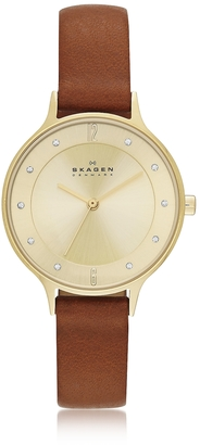 Skagen Anita Round Case Saddle Leather Strap Women's Watch $138 thestylecure.com