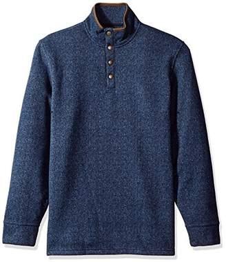 Arrow Men's Long Sleeve Sweater Fleece Printed Herringbone Snap Mock