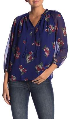 Lucky Brand Floral Patterned Peasant Blouse