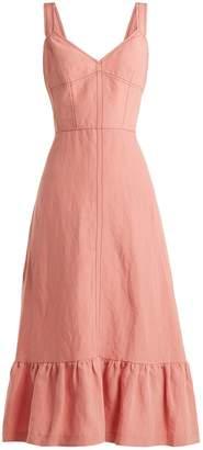Rebecca Taylor Lace-up back linen midi dress