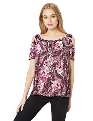 a85c8ed8b604ae Star Vixen Women's Short Sleeve Cold-Shoulder ITY Knit Peasant