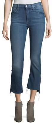 Mother Insider Crop Step-Fray Denim Jeans, Crack the Whip