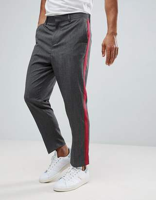 Asos Design DESIGN tapered smart pants in grey twist with raspberry side stripe