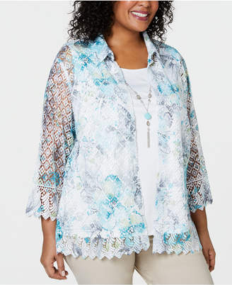 Alfred Dunner Plus Size Versailles Layered-Look Lace Necklace Top