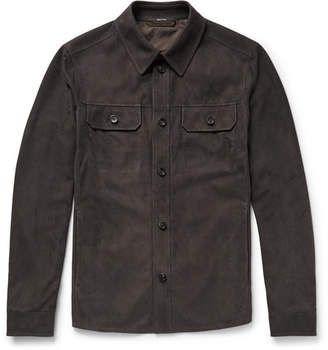 Ermenegildo Zegna Slim-fit Perforated Suede Overshirt - Charcoal