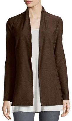 Eileen Fisher Long Washable Crepe Shawl-Collar Jacket, Chocolate $218 thestylecure.com