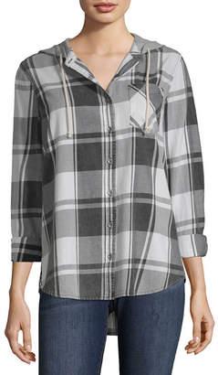 Vanilla Star Womens Hooded Neck Long Sleeve Flannel Shirt-Juniors