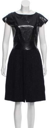 Chanel Leather-Trimmed Wool-Blend Dress