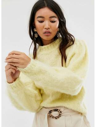 Asos Design DESIGN fluffy sweater with volume sleeve