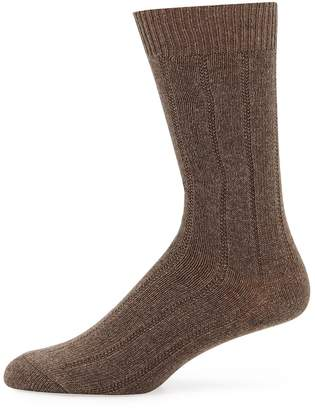 Neiman Marcus Men's Cashmere Dress Socks, Taupe