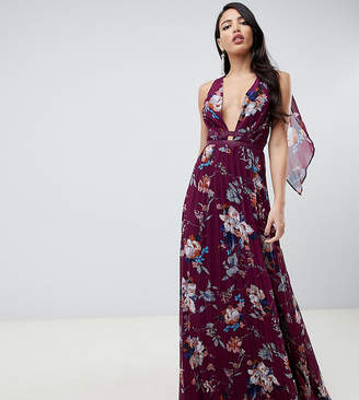 Asos Tall DESIGN Tall pleated maxi dress with tape detail in winter floral print