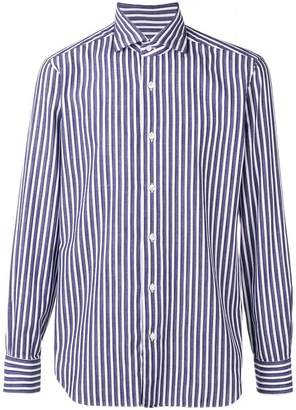 Barba striped point-collar shirt