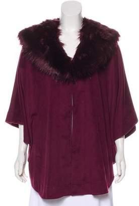 Adrienne Landau Faux Fur-Trimmed Cape w/ Tags