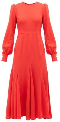 Goat Idol Godet Panel Wool Crepe Midi Dress - Womens - Red