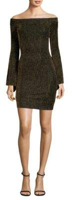 BCBGMAXAZRIA Metallic Stripe Bell-Sleeve Mini Dress