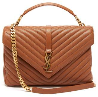 Saint Laurent College Large Quilted Leather Cross Body Bag - Womens - Tan