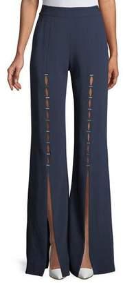 Jonathan Simkhai Stapled Crepe Front-Split Pants